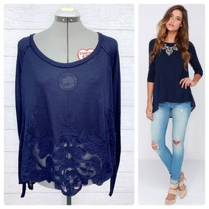 •FREE PEOPLE• Exposed Seam Embroidered Swing Top S